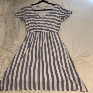 Fully lined gauze striped dress